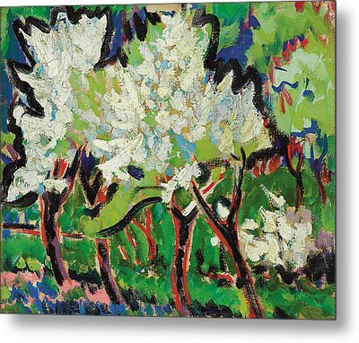 Flowering Trees Iv Metal Print by Ernst Ludwig Kirchner