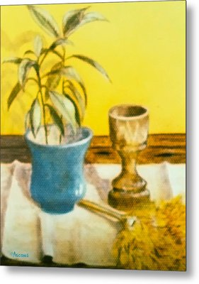 Flowerpot Goblet And Featherduster Metal Print