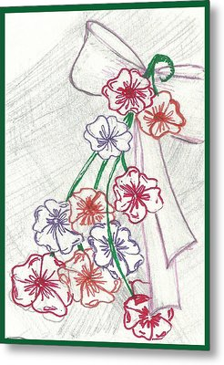 Flowers And Bow Metal Print by Becky Sterling