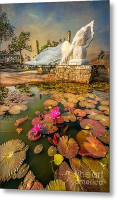 Flowers And Buddha Metal Print by Adrian Evans