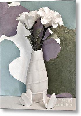 Flowers And Butterflies Metal Print by Marsha Heiken