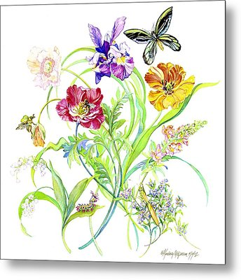 Flowers And Butterfly Metal Print by Kimberly McSparran