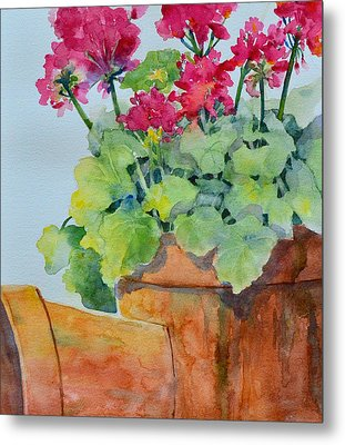 Flowers And Clay Pots Metal Print by Cynthia Roudebush