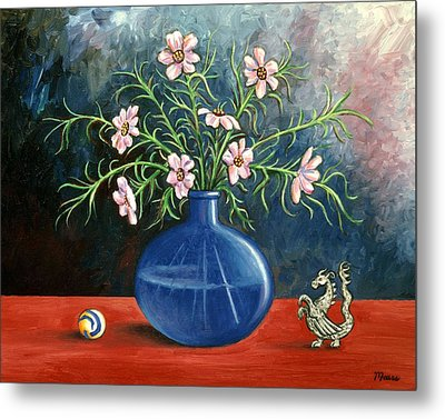 Flowers And Dragon Metal Print by Linda Mears