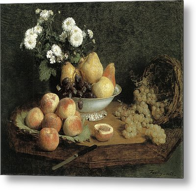Flowers And Fruit On A Table Metal Print by Henri Fantin-Latour
