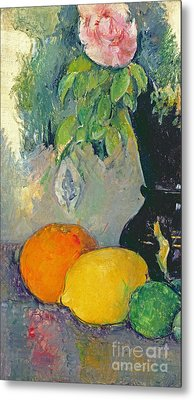 Flowers And Fruits Metal Print by Paul Cezanne