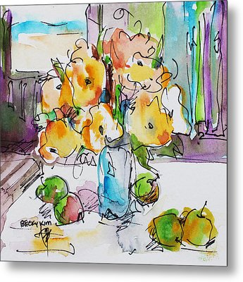 Flowers And Green Apples Metal Print by Becky Kim