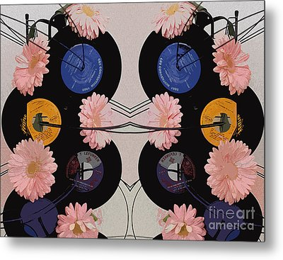 Flowers And Phonographs Metal Print