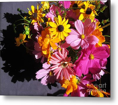Flowers And Shadow Metal Print