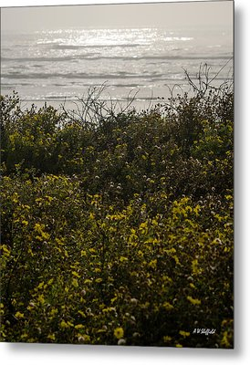 Flowers And The Sea Metal Print