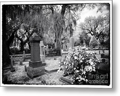 Flowers By The Grave Metal Print by John Rizzuto