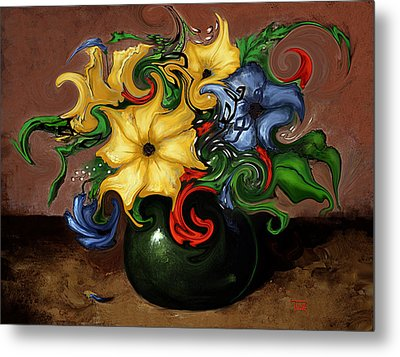 Metal Print featuring the painting Flowers Dancing by Terry Webb Harshman
