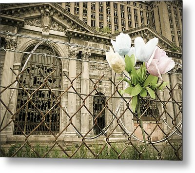 Flowers For Detroit Metal Print
