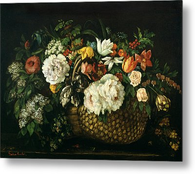 Flowers In A Basket, 1863 Metal Print