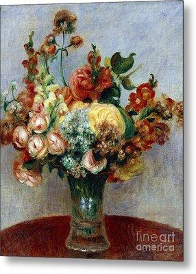Flowers In A Vase Metal Print by Pierre-Auguste Renoir