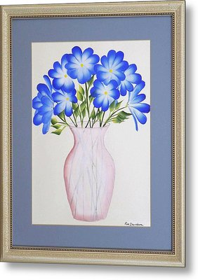 Flowers In A Vase Metal Print by Ron Davidson