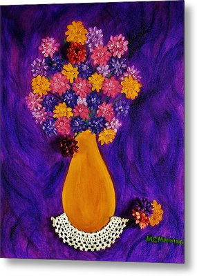 Flowers In A Yellow Vase Metal Print by Celeste Manning