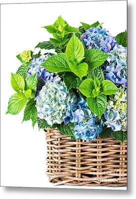 Flowers In Basket Metal Print by Boon Mee