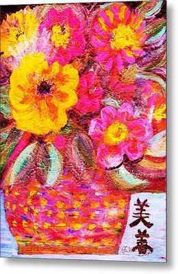 Flowers In Basket With Chinese Characters Metal Print by Anne-Elizabeth Whiteway