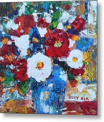 Flowers In Blue Vase 2 Metal Print by Becky Kim