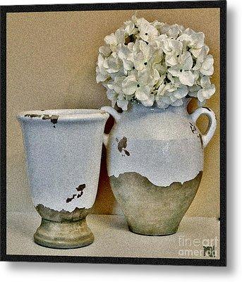 Flowers In European Pottery Metal Print by Marsha Heiken