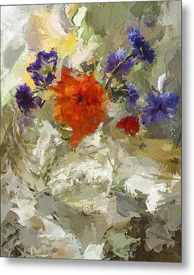 Flowers In Glass Jar Metal Print by Yury Malkov