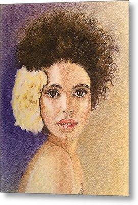 Flowers In Her Hair II. Metal Print by Paula Steffensen
