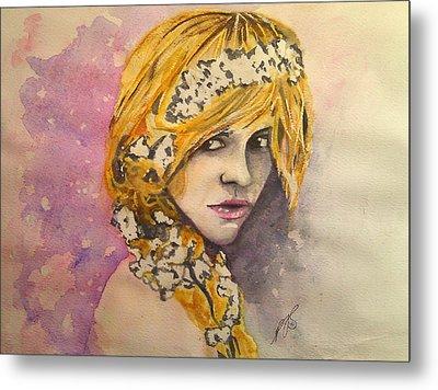 Flowers In Her Hair Series I Metal Print by Paula Steffensen