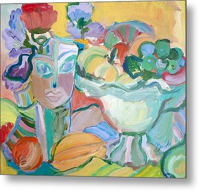 Flowers In Her Hat Metal Print by Brenda Ruark