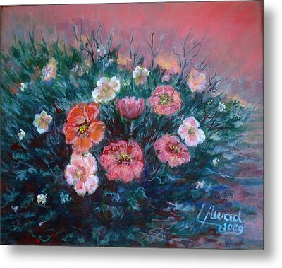 Metal Print featuring the painting Flowers In My Garden. by Laila Awad Jamaleldin