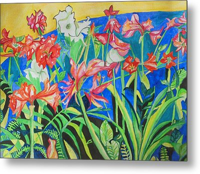 Flowers In Polyphony Metal Print by Esther Newman-Cohen