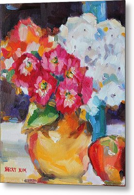 Flowers In Yellow Vase With An Apple Metal Print by Becky Kim