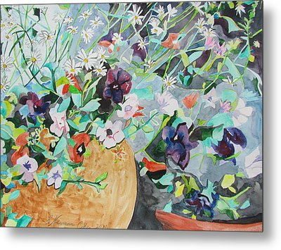 Flowers Light And Dark Metal Print by Esther Newman-Cohen