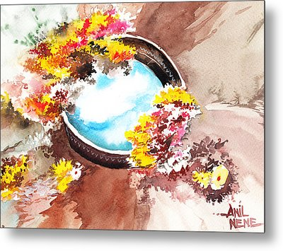 Flowers N Sky Metal Print by Anil Nene