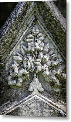Flowers On A Grave Stone Metal Print by Edward Fielding