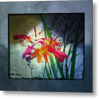 Flowers On Parchment Metal Print by Absinthe Art By Michelle LeAnn Scott