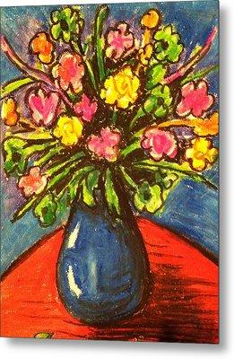 Flowers On Red Table Metal Print