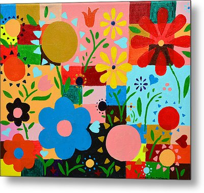 Flowers On The Quilt Metal Print