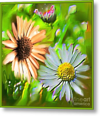 Flowers Orange And Blue Metal Print by Nedunseralathan R