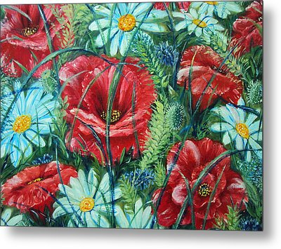 Flowers Poppies And Daisies Metal Print by Drinka Mercep