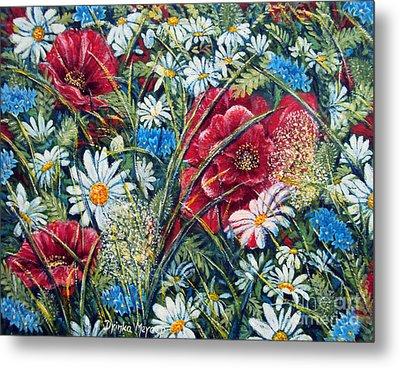 Flowers Poppies And Daisies No.5 Metal Print by Drinka Mercep