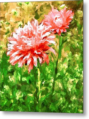 Flowers Red On Green Metal Print by Yury Malkov