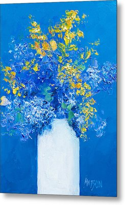 Flowers With Blue Background Metal Print