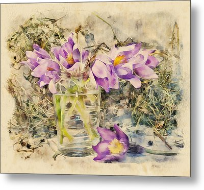 Flowers With Grass Metal Print by Yury Malkov