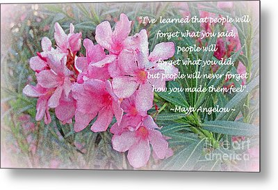Flowers With Maya Angelou Verse Metal Print