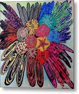 Metal Print featuring the painting Flowers Burst By Jasna Gopic by Jasna Gopic