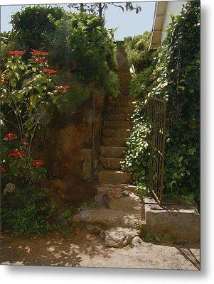 Flowery Stairway Metal Print by Dominique Amendola