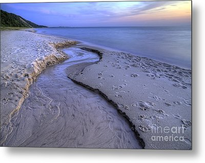 Flowing Into Lake Michigan Metal Print by Twenty Two North Photography