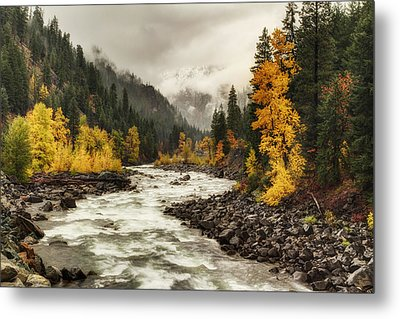 Flowing Through Autumn Metal Print by Mark Kiver