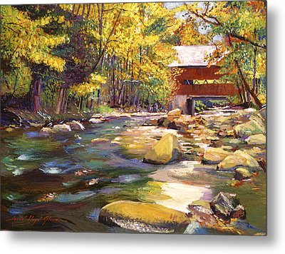 Flowing Water At Red Bridge Metal Print by David Lloyd Glover